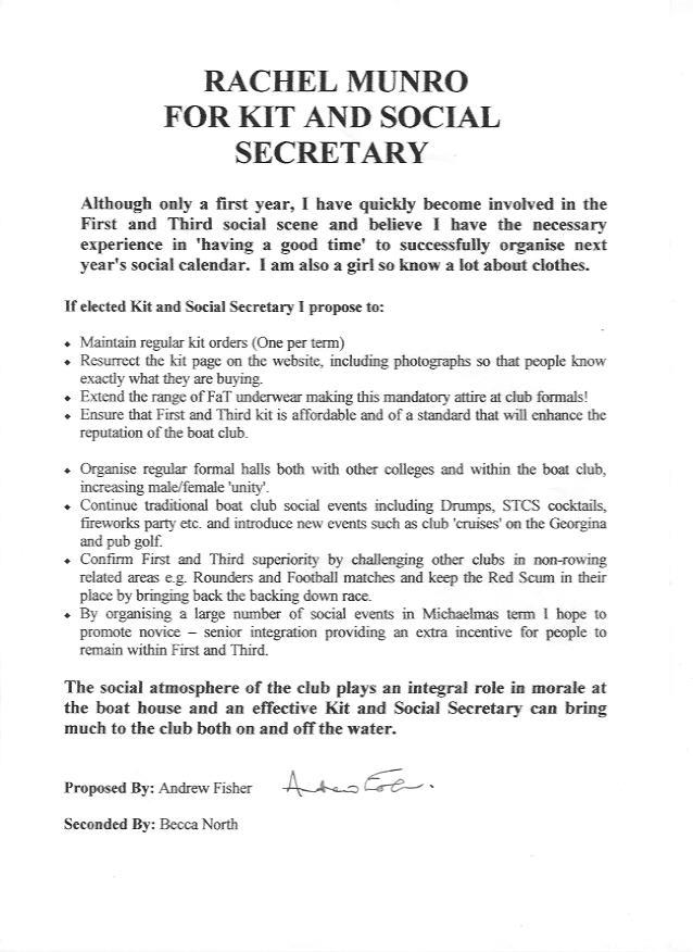 Student Representative Election Manifestos