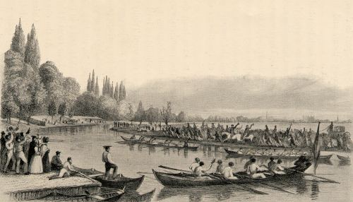 A picture of rowing racing on the Cam in 1837