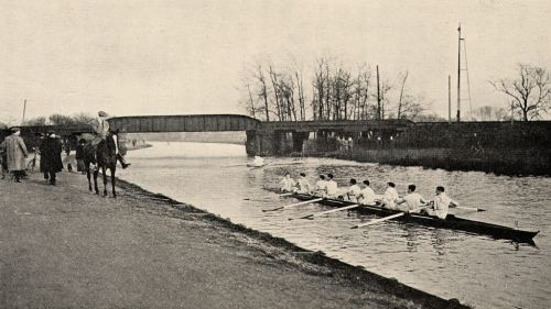 The 1870 Cam railway bridge and an VIII coached from horseback