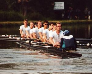 2nd boat in 1999, rowing down to the start of the May Bumps